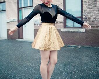 Gold Astro Draco Skater Skirt (made to order)