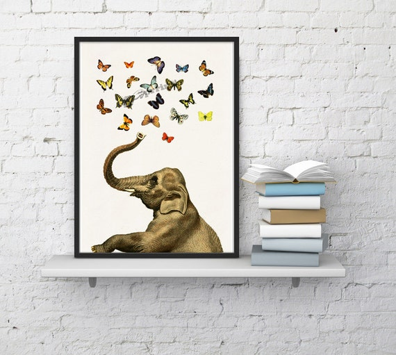 Summer Sale Elephant in love counting butterflies elephant  print- Elephant in love Elephant decor Nursery New born gift  ANI088WA4