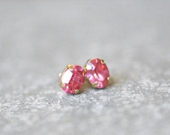 Rose Pink Earrings Swarovski Crystal 8mm Oval Petite Studs Super Sparklers Small RARE Vintage Pink Wedding Earrings Mashugana