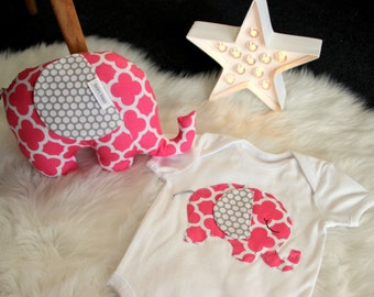 Baby singlet.(One piece,body suit.) AND matching elephant softie soft toy.rattle.Elephnat toy & onsie.Damask. Pink and grey.Baby girl Gift.