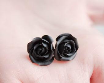 Black Rose Stud Earrings Wholesale Small Hypoallergenic Studs Earstuds Handmade Strict Elegant Earrings Wedding Bridal Birthday Mother Gifts