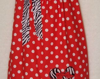 Minnie Mouse Pillowcase Dress / Disney / Zebra / Red & White Polka Dot / Newborn / Infant / Baby / Girl / Toddler / Custom Boutique Clothing