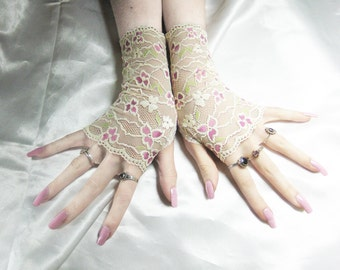 Lace Arm warmers Fingerless gloves armwarmers sleeves hand fasting - Ivy - belly dance goth gothic glove bridal ivory off white feminine emo