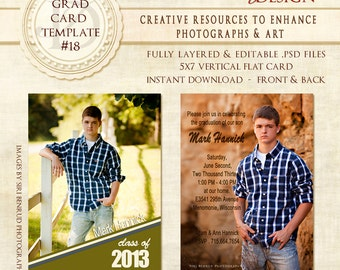 Graduation Invitation, Senior Boy Photoshop Template,  Senior Boy Invitation, Photoshop template,  templates, graduation cards -18 ID 018
