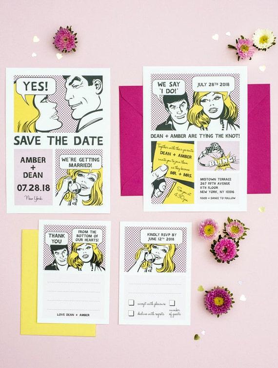 The Comic Strip Unique Wedding Invitation Printable Set of 4