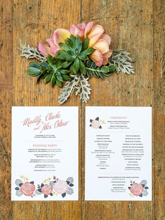 Pink Rose Wedding Program Template Printable