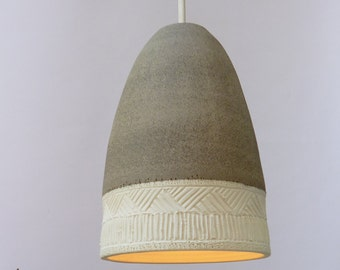 Pendant light, Grey stoneware and porcelain bell, Hanging lamp.