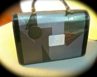 Vintage Purse Black Patent Leather with Grey Textured Top and Back