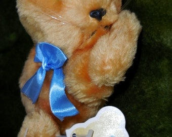 "Vintage 1977 DAKIN ""Bean Bags"" CAMEO KITTY - Plush Stuffed Animal/Toy - Hand Crafted Orange Cat w/ Blue Ribbon -Made in Korea - Original Tag"