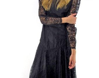 On Sale - Vintage 80s Lace Handkerchief Dress, Black Lace Dress, Boho, Peek-A-Boo Back, Gypsy Dress, Bohemian Δ size: sm