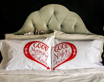 Good Morning & Good Night - screen print pillowcase set