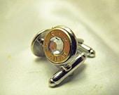 Bullet Cufflinks 45 Caliber Remington Clear Crystal  Rhinestone Wedding Groomsmen