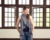 Summer vest, Sleeveless cardigan, Wrap cardigan, Wrap women vest, Stripes cardigan, Stripes women vest, Eco vest, Organic cardigan,Navy grey