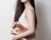 EMMA Leather Fold Clutch. Metallic Copper Leather Fold Clutch. Small Leather Fold Pouch. Metallic Wedding Pouch