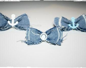 Shabby Country Chic Anchor Hair bows- Nautical Hair Bow