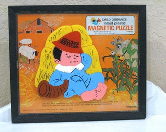 Vintage Puzzle - Magnetic - Little Boy Blue - Child Guidance - 1960's - Retro Nursery Rhyme - Toy