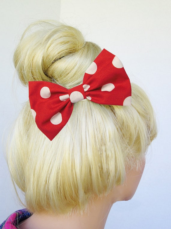 Polkadot Hair Bow Clip Polkadot Clip Bow Red White Polkadots Bow Big Hair Bow Girly Hair Bow Merry Christmas Hair Bow Christmas Bow Clip