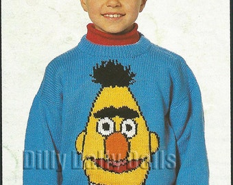 "Sesame Street Muppet BERT Intarsia Sweater knitting pattern for children and adults in sizes 24"" - 40"" in Double Knit Yarn"