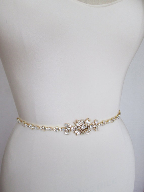 Gold skinny belt bridal belt sash bridal crystal by for Sparkly belt for wedding dress
