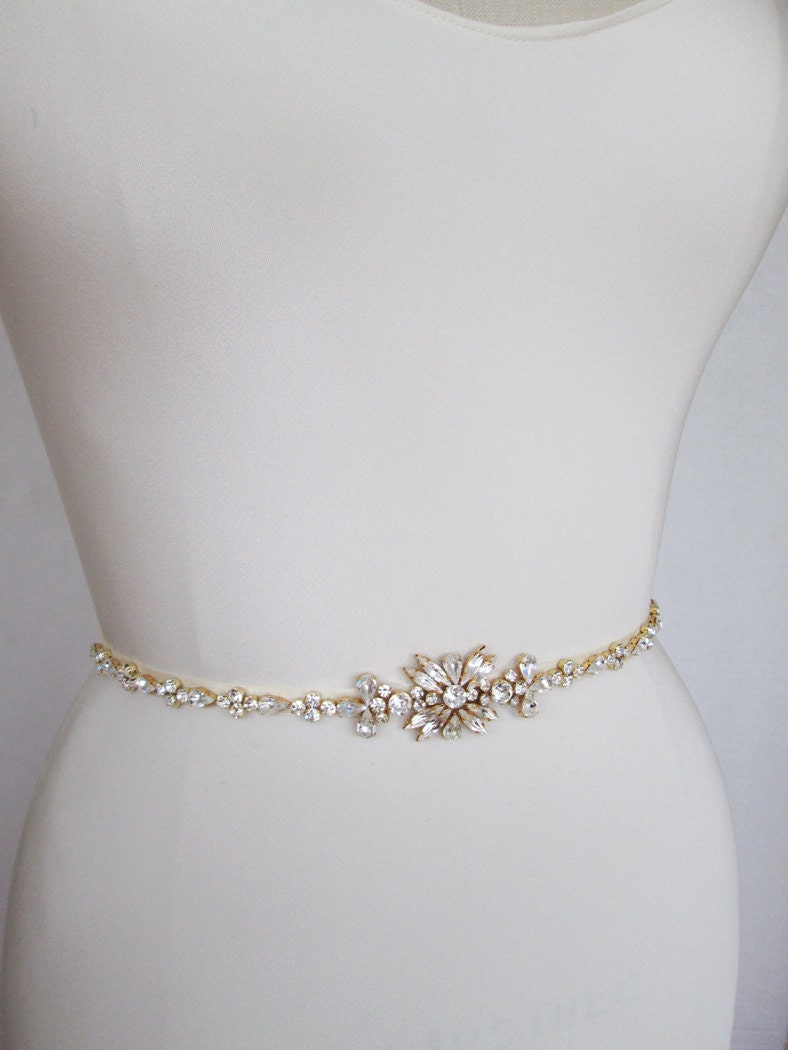 Gold Skinny Belt Bridal Belt Sash Bridal Crystal By