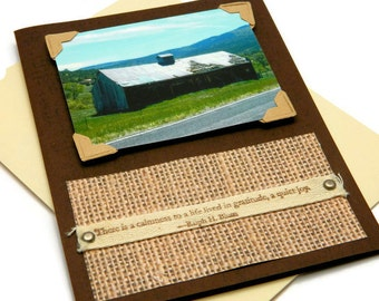 Thank You Cards For Him, So Grateful, With Gratitude, Rustic Barn Card, Photo Greeting Cards, Stampin' Up Card