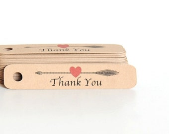 Mini Thank You Tags - Arrow Thank You Tags - Thank You Hang Tags - Gift Tags - Wedding Favor Tags - Kraft Tags