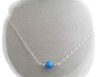 Blue Opal Necklace. 5mm Tiny Ball Necklace. Silver Opal Bead Necklace. Solitaire Dot Neckace. Bead Floating Necklace. October Opal Jewelry
