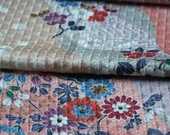 Kimono Silk Fabric, Japanese Kimono Silk, Pastel Fabric, Floral Fabric, Shabby Chic Material.