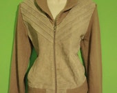 Vintage 70s Taupe Tan Suede Zipper Sweater Medium Mens Womens Leather Repage Knit Jacket  Hipster Indie Avant Garde