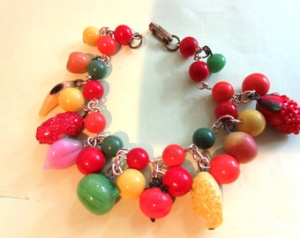 Art Glass Bracelet Vintage Colorful  Fruit Salad Cha Cha Charm Japan Costume Jewelry art glass fruits tropical juicer Summer jewelry
