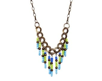 Beaded Fringe Necklace, Chunky Chain Necklace, Beaded Blue Green Necklace