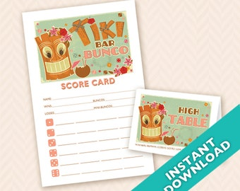 Tiki Bar Bunco - Printable Bunco Score and Table Card Set (a.k.a. Bunko, score card, score sheet)
