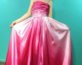 1950s Ombre Pink Satin Dress . Prom . princess wedding gown