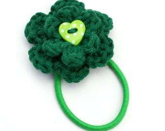 Crochet Flower Hair Bobble in Bottle Green