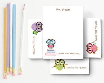 Personalized Teacher Notepad  Teacher Stationery Personalized Stationary Teacher Gift Owl  Teacher Gift Teacher Stationery Gift Notepad Set