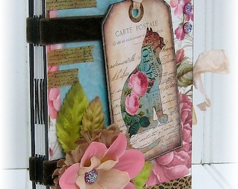 Art Journal, Smash Book, Junk Journal, Sketchbook, Cat, Pink, Aqua, Floral
