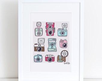 Cameras - 8x10 Giclee Art Print - photography, vintage cameras, polaroid, rolleiflex, diana, nikon, holga, doodles, photographer, pink, aqua