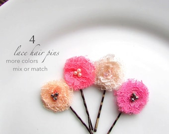 "Tutu Cute Baby Hair Clip Set Toddler Flower Girl Hair Pins, Petite Shabby Lace Floral hairpins, 1"" Tiny Pink hair Flowers Mini Pearls, Peach"