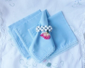 Four Baby Blue Napkins with Princess Lace, Handmade Blue Dinner Napkins