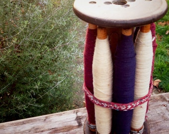 8 Vintage Large Bobbins, Industrial Spools, Plus Holder Weaving Thread Yarn, Prim Decor