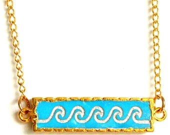 LAS OLAS Turquoise Wave Bar Necklace. Surf Jewelry. Surfer Necklace.