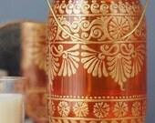 Boho Decor Mason Jar Lantern, Tangerine Glass with Gold Detailing