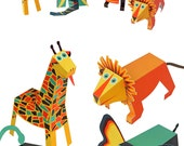Jungle Animals Paper Toys - DIY Paper Craft Kit - 3D Paper Animals - 4 Animals