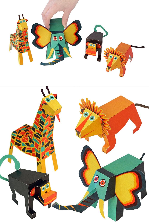 Jungle animals paper toys diy paper craft kit 3d paper animals 1100 jeuxipadfo Image collections