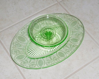 """ANTIQUE CAMBRIDGE CRACKER Cheese Green Depression Glass Set Oval Tray Platter Compote #3065 Etch #706 12"""" Platter Etched Crystal Excellent!"""