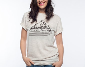 Cream Mount Hood American Apparel T Shirt