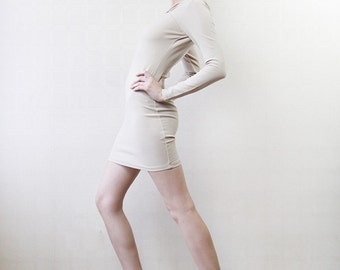 Nude beige tight fitted body con cut out strappy mini dress XS-S