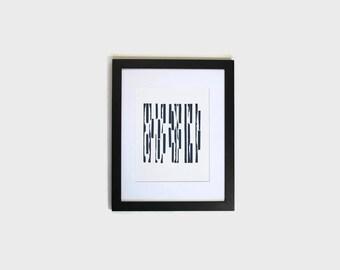 modern wall print // hand stamped print // original artwork // office wall decor // home wall print // abstract art // navy blue wall art