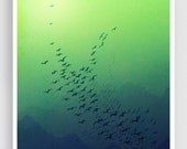 Awakening (green version) - Art illustration Mixed media illustration Morning Sun Freedom Blue Mountains Birds Art Prints Posters Home decor