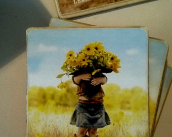 Hat Full Of Sunflowers /Art Adhered To Wood /  Magnet or Plaque / Complete With Vintage Wire Hanger /Handmade In America